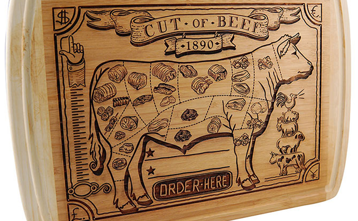 cutting board laser engraved cow